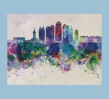 Kansas City skyline in watercolor background Kids Tee