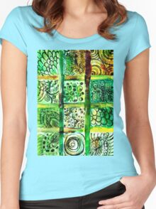 Painted Squares Art with Ornament 2 Women's Fitted Scoop T-Shirt