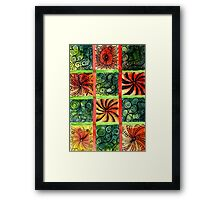 Painted Squares Art with Ornament 3 Framed Print