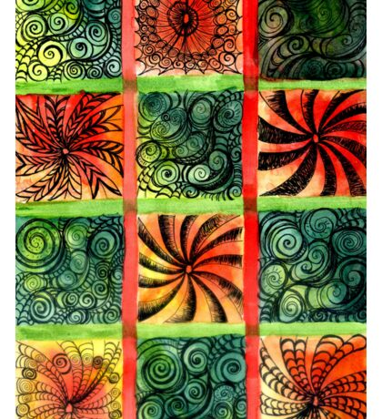 Painted Squares Art with Ornament 3 Sticker