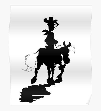 Lucky Luke Silhouette Poster