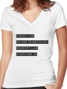 Encrypt like everyone is watching (B&W BG) Women's Fitted V-Neck T-Shirt