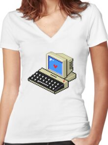 Cool computer love Women's Fitted V-Neck T-Shirt