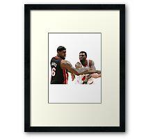 Lebron James getting hit Framed Print