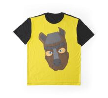Human Pup Dog Handler Leather Look Face Mask Hood Graphic T-Shirt