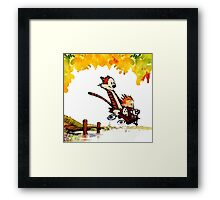 Play on lake Calvin and Hobbes Framed Print