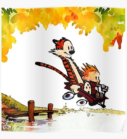 Play on lake Calvin and Hobbes Poster