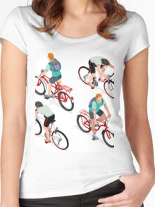 Teen Boys Cycling Isometric Women's Fitted Scoop T-Shirt