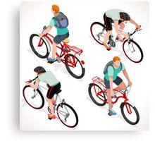Teen Boys Cycling Isometric Canvas Print