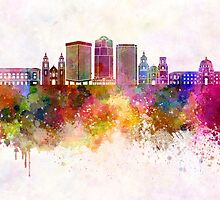 Tucson V2 skyline in watercolor background by paulrommer