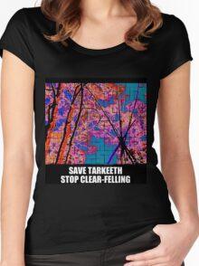 Tarkeeth tripod SAVE TARKEETH NO CLEAR-FELLING Women's Fitted Scoop T-Shirt