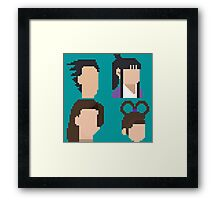 Ace Attorney Heads. Framed Print