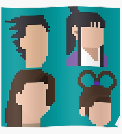 Ace Attorney Heads. Poster