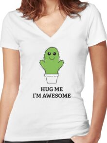 Hug Me, I'm Awesome Women's Fitted V-Neck T-Shirt
