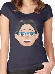 Caricature Head #3 - Long Black Haired Man w/ Blue Glasses Women's Fitted Scoop T-Shirt