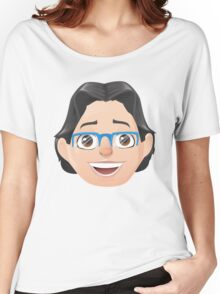 Caricature Head #3 - Long Black Haired Man w/ Blue Glasses Women's Relaxed Fit T-Shirt