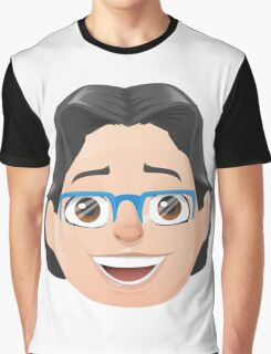 Caricature Head #3 - Long Black Haired Man w/ Blue Glasses Graphic T-Shirt