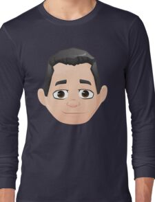 Caricature Head #4 - Black Haired Man Long Sleeve T-Shirt