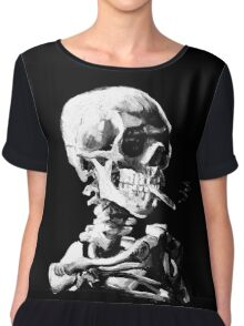 Van Gogh Skull with burning cigarette Chiffon Top