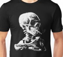 Van Gogh Skull with burning cigarette Unisex T-Shirt