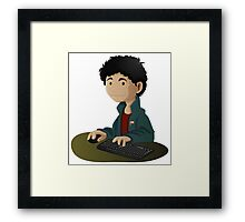Computer Man Caricature #6 - Curly Black Haired Kid Framed Print