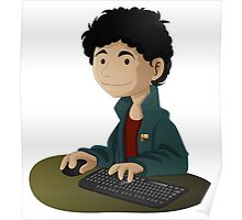 Computer Man Caricature #6 - Curly Black Haired Kid Poster