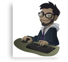 Computer Man Caricature #7 - Brown Guy w/ Glasses Canvas Print