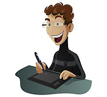 Computer Man Caricature #8 - Curly Redhead Teenager Photographic Print