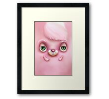 Cute Fluffy Monster in Pink Framed Print