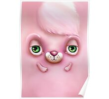 Cute Fluffy Monster in Pink Poster