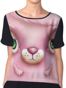 Cute Fluffy Monster in Pink Chiffon Top