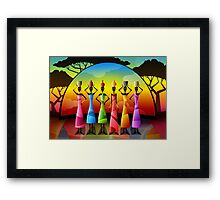 African Women With Vessels Framed Print