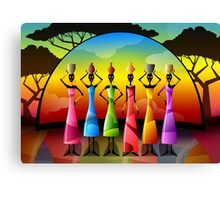 African Women With Vessels Canvas Print