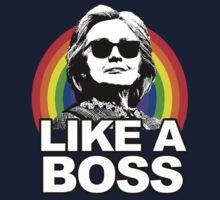 Hillary Clinton Like a Boss Rainbow One Piece - Short Sleeve