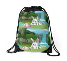 Blobfisch und Hase Drawstring Bag