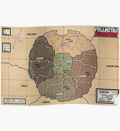 Fullmetal alchemist brotherhood map Poster