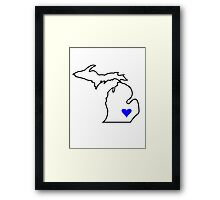 Michigan Love - Blue  Framed Print