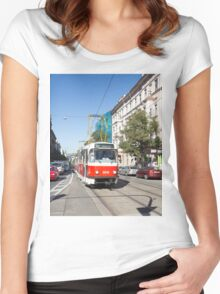 Trams in Prague Women's Fitted Scoop T-Shirt
