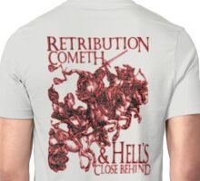 REVENGE, Four Horsemen of the Apocalypse, Durer, Retribution Cometh & Hell's Close behind! Biblical, Bible, Red Shadow on White Unisex T-Shirt
