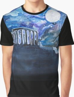 The Temple of Poseidon Against the Moon Graphic T-Shirt