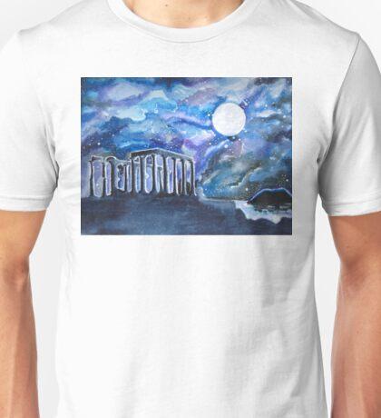 The Temple of Poseidon Against the Moon Unisex T-Shirt
