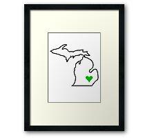 Michigan Love - Green  Framed Print