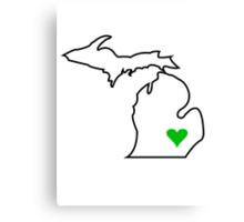 Michigan Love - Green  Canvas Print