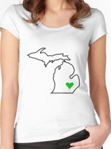 Michigan Love - Green  Women's Fitted Scoop T-Shirt
