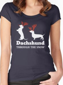 Dachshund Through The Snow Christmas T-shirt Women's Fitted Scoop T-Shirt