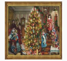 Victorian christmas where the whole family gathered around the christmas tree and living room. One Piece - Short Sleeve