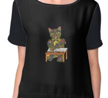Piano Playing Lucky Black Cat  Chiffon Top