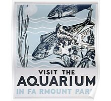 WPA United States Government Work Project Administration Poster 0372 Visit the Aquarium in Fairmount Park Poster