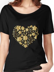 Gold Floral Heart Women's Relaxed Fit T-Shirt