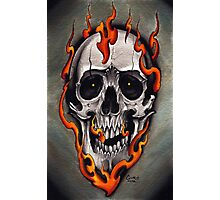 Skull in Flames  Photographic Print